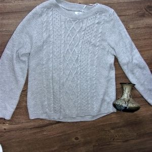 pxl Large gray woman sweater cable knit casual